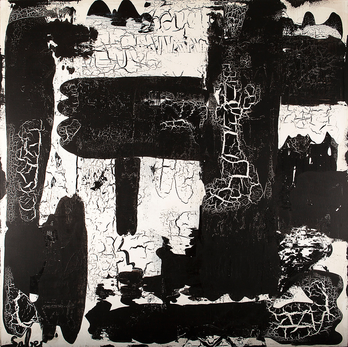 Black & White Abstract Painting - Saber